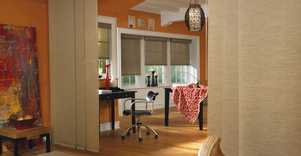 Panel Track Shades for privacy in large spaces